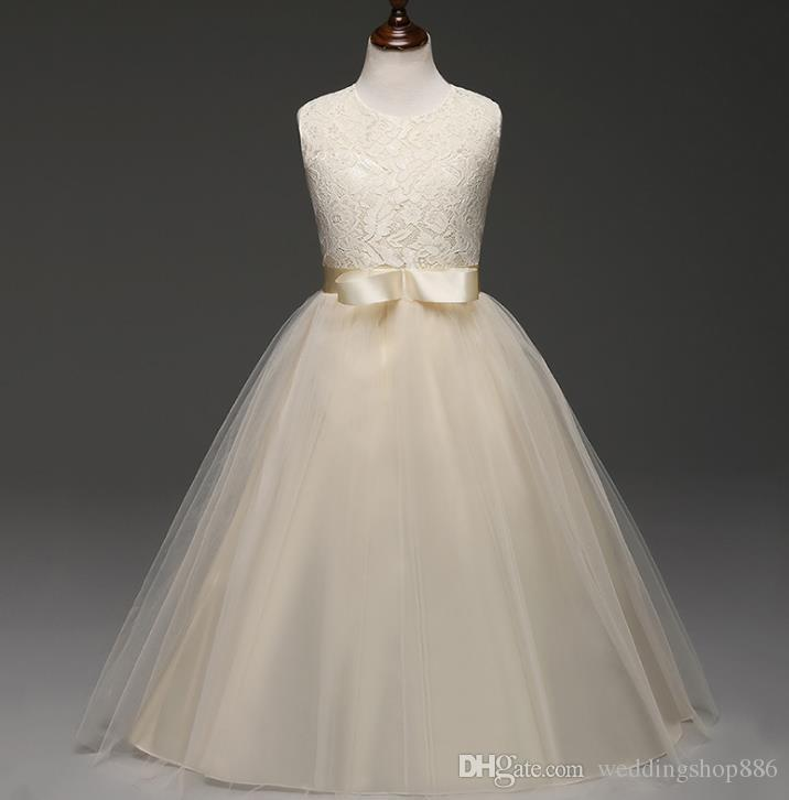 Flower Girl Dresses Summer Princess Wedding Bridesmaid Long for Children Kids Clothes White Party ball gown Dresses for Girl Clothes