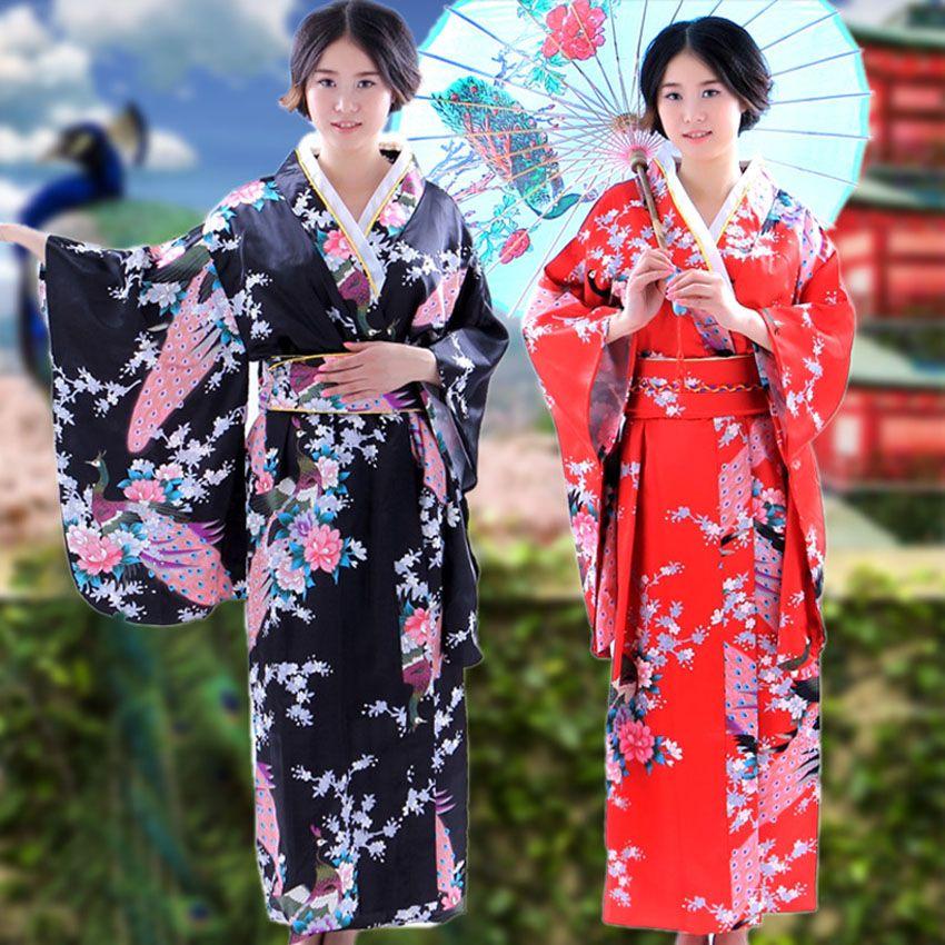 Japanese Dressing Gown: 2019 Traditional Japanese Kimono Yukata Peacock Floral