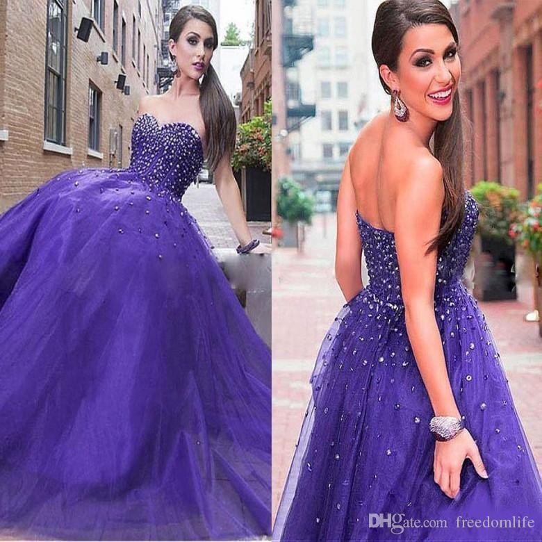 a07d38f6169 Elegant Sweetheart Neckline Purple Prom Dresses With Beading Exposed Boning  Paolo Sebastian Evening Dress Tulle Vestidos De Fiesta Baratos Prom Dress  ...