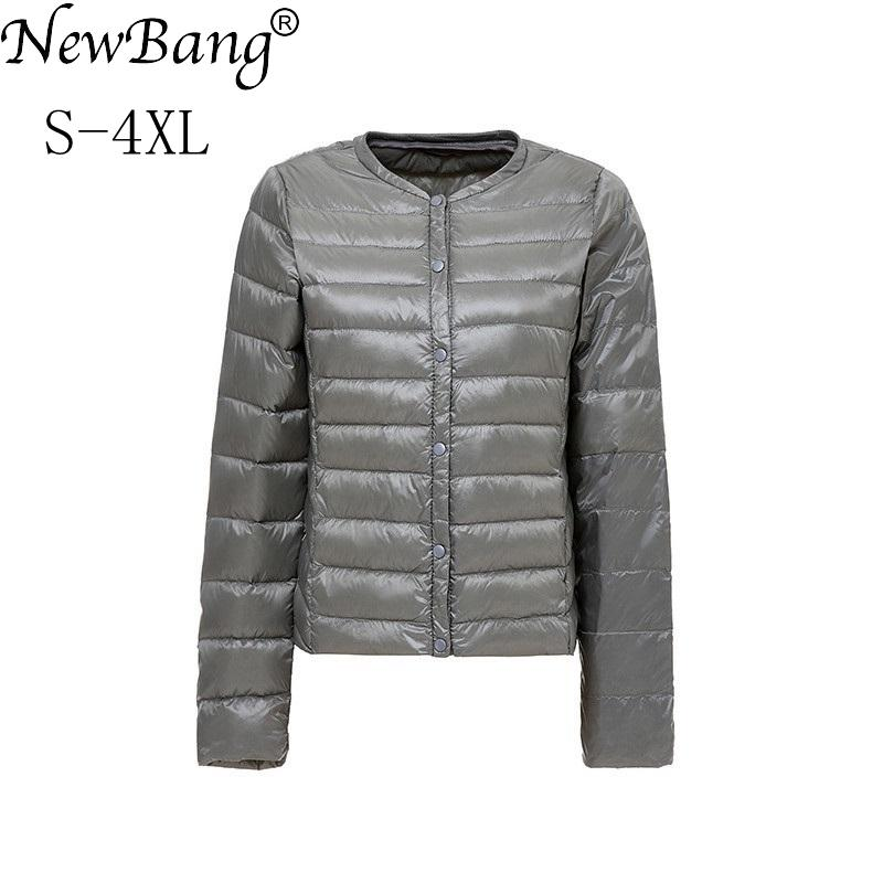 pretty nice 3d2e8 86ce6 NewBang Brand Damen Daunenjacke Ultra Light Daunenjacke Damen  Kragen-weniger Coat Feder Leichte tragbare dünne dünne Jacken