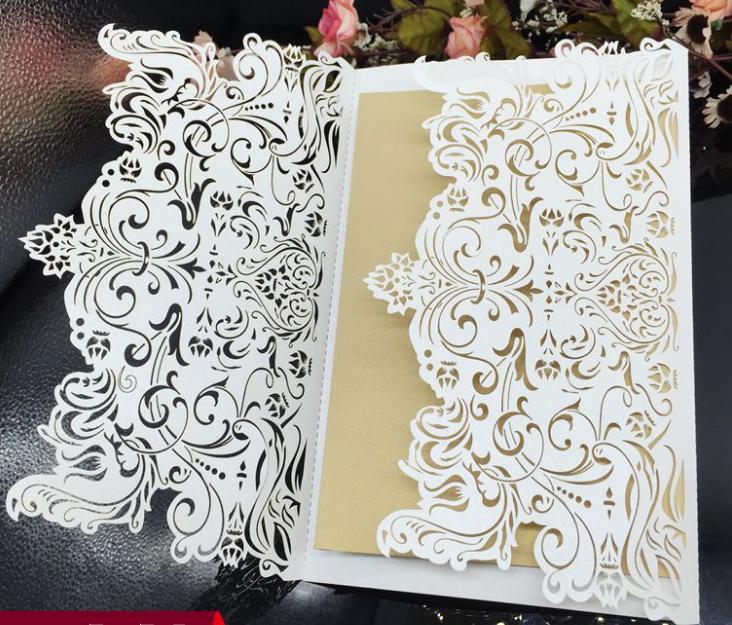 2018 New European Design Hollow Wedding Invitations Customized Laser Cut Wedding Party Invitation Cards free shipping