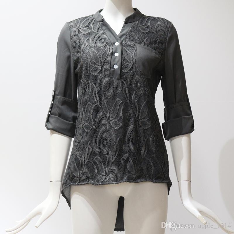 Plus Size Femmes Vêtements Dames Tops Dentelle En Mousseline De Soie Blouse Mode Chemises À Manches Longues Blouse De Blouse Femmes Tops 2018 V Cou Vêtements