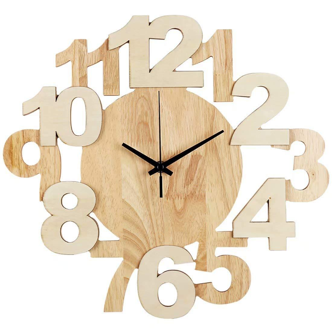 Art Modern Clock, Living Room Bedroom Creative Solid Wood Wall Clock ...