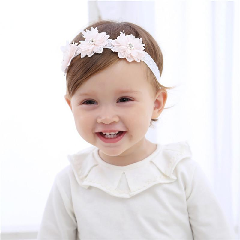 Baby Gauze Flower Hairband 0 to 2 years Hair Accessories 3 Light Pink Flowers Beautiful Girl Hair Band Infant Clips