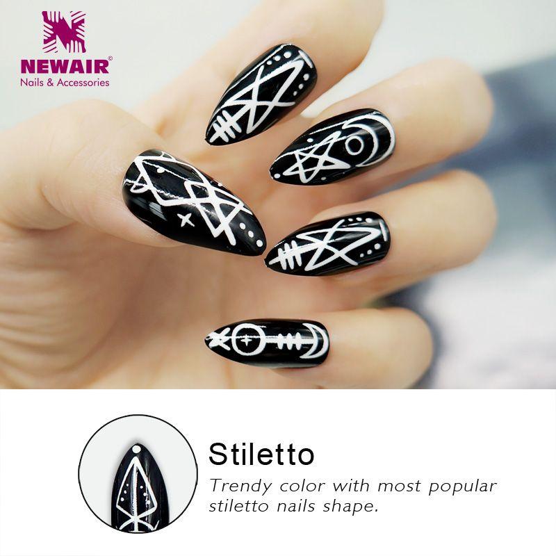 Stiletto False Nails With Designs Long False Fake Nails Manicure