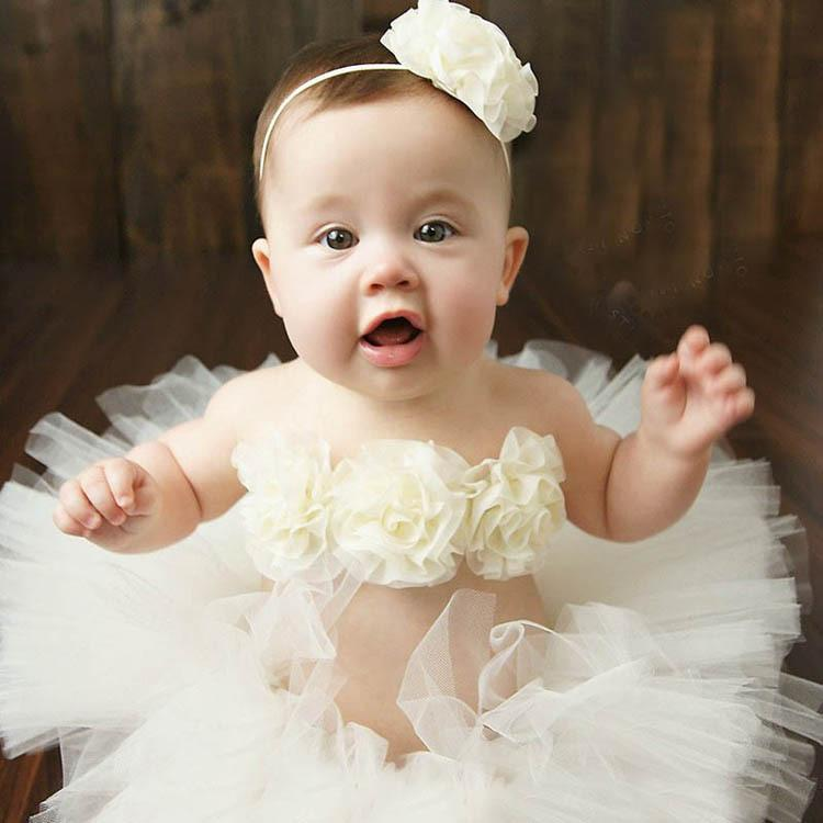 INS Baby Tutu Skirts Infant Flower Tops Headband Tulle Short Skirt 3pcs Sets Newborn Solid Color Clothing Suits Free DHL B12