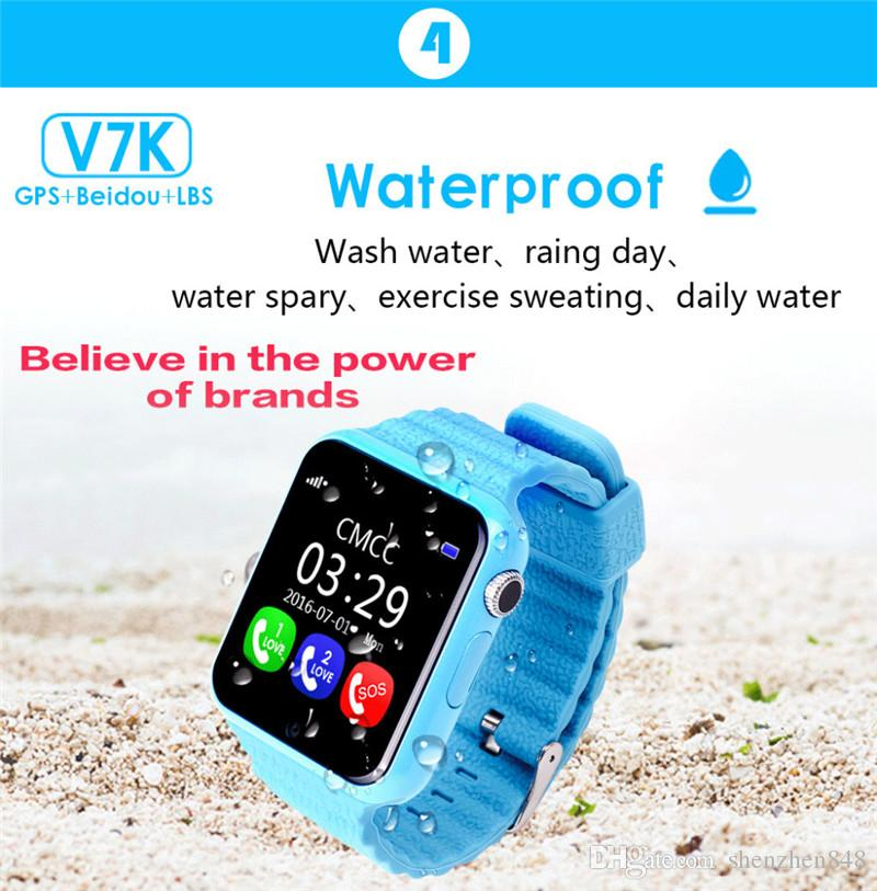 2018 Original V7K GPS Bluetooth Smart Watch for Kids Boy Girl Apple Android Phone Support SIM /TF Dial Call and Push Message DD-BS