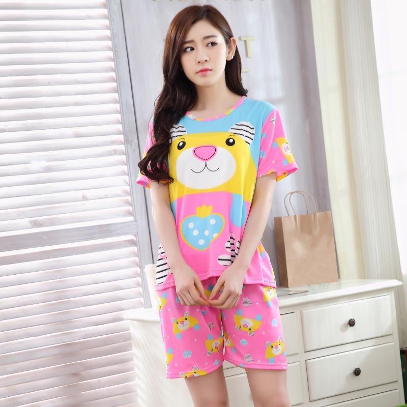 2019 Cute Women S Pajama Sets Print Set Tee Top + Shorts Women Pajamas  Cotton Plus Size Pajamas Suit For Women From Huweilan 2f93ca716