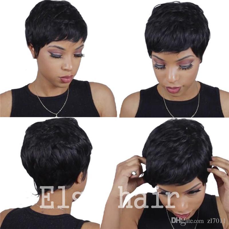 Cheap Human Real Hair Short Pixie Cut Wigs Peruvian Full Hair