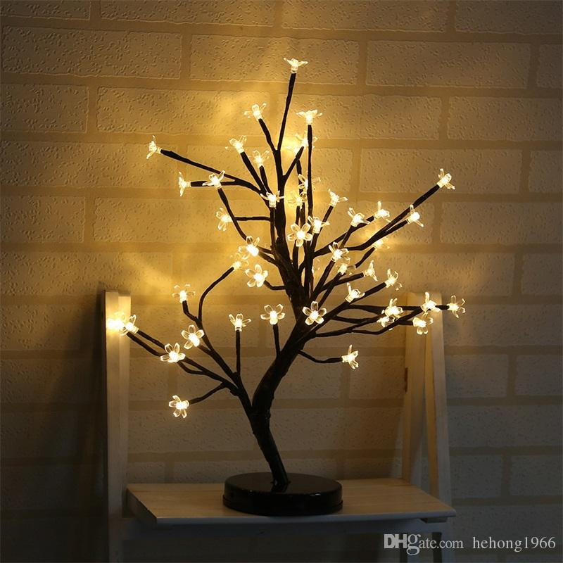 LED Lâmpada Decorativa Simulação Plum Blossom Planta Em Vaso de Flores Artificiais Luz Da Noite Para A Festa de Natal Decorações Do Casamento 38yd UU