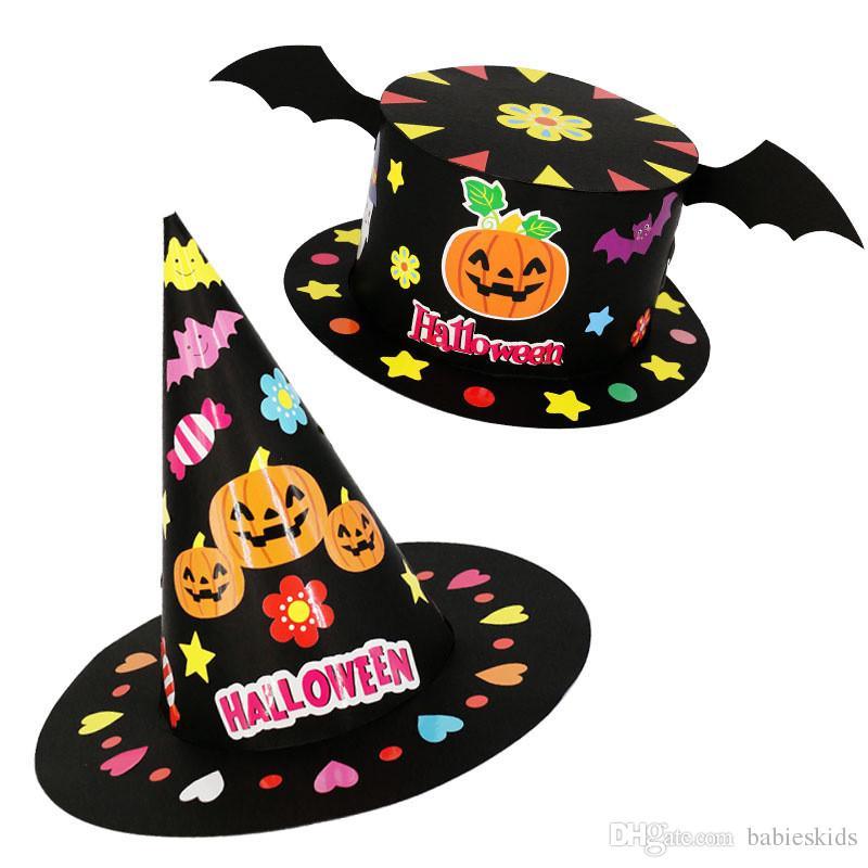 0d5a1bae1e3b4 Compre Criativo Crianças Mão Fazer DIY Halloween Cap Moda Chapéu Festival  Festa Adereços Acessório Acessório Decoração De Halloween De Babieskids