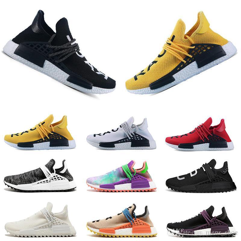 Adidas NMD Human Vente chaude Human Race trail Chaussures de Course Hommes Femmes Pharrell Williams noir blanc Vide Toile pâle nude formateurs sport