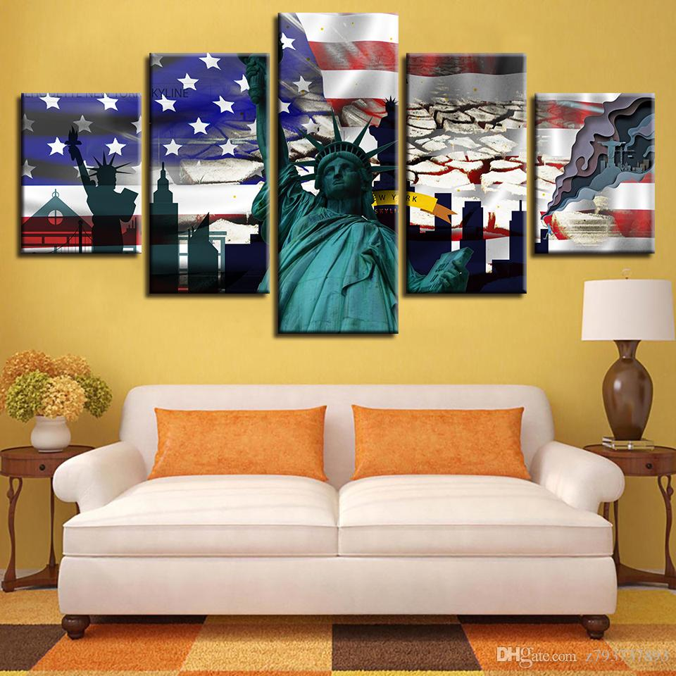 2018 Wall Art Framework Canvas Painting Home Decor American Flag ...
