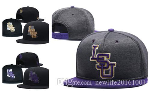 NCAA LSU Tigers Snapback Caps 2018 New College Adjustable Hats All University Caps Gray Purple One Sze for All