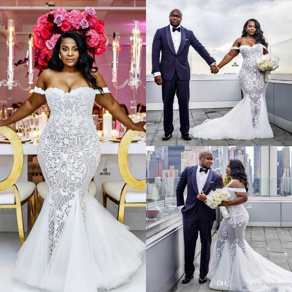 2018 Modest African Plus Size Wedding Dresses Mermaid Off Shoulder Trumpet Bridal  Gowns Sweep Train Tulle Lace Appliqued Wedding Dress Cream Wedding Dresses  ... 0ff59c109606
