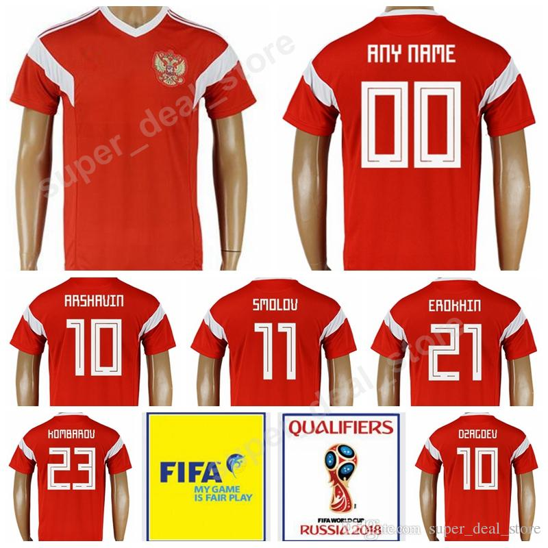 the latest bb38a fe7c0 Thai Russia Soccer 10 DZAGOEV ARSHAVIN Jersey 2018 World Cup 9 KOKORIN  SAMEDOV Football Shirt Russian Kits Uniform 11 KERZHAKOV 23 KOMBAROV