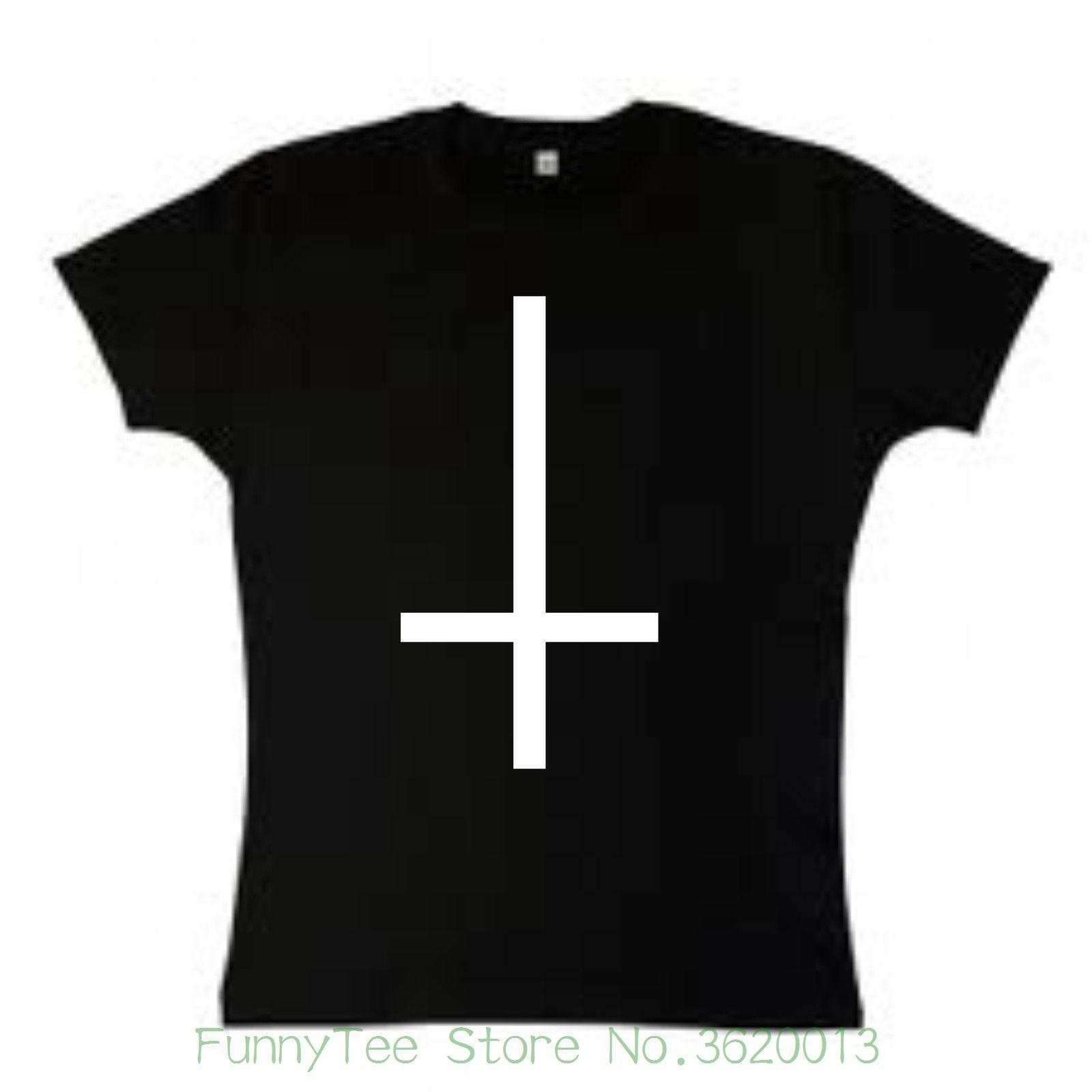 4390a09ffd9 Compre T Das Mulheres De Cabeça Para Baixo Cruz Feminino Fit T Shirt  Gótico