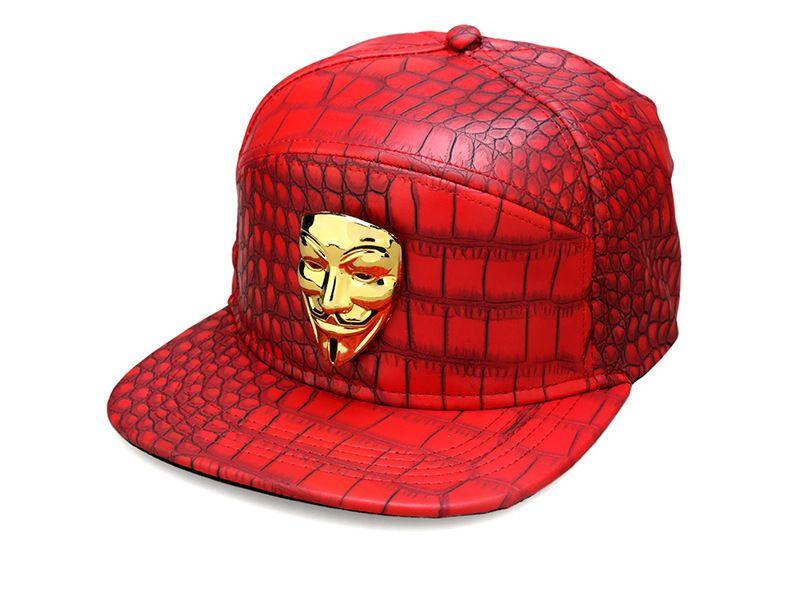 PU Leather Hip Hop Baseball Caps Adjustable Snapback Baseball Caps Men Women Hiphop Hats Crocodile Grain Hat V for Vendetta Hip Hop Cap