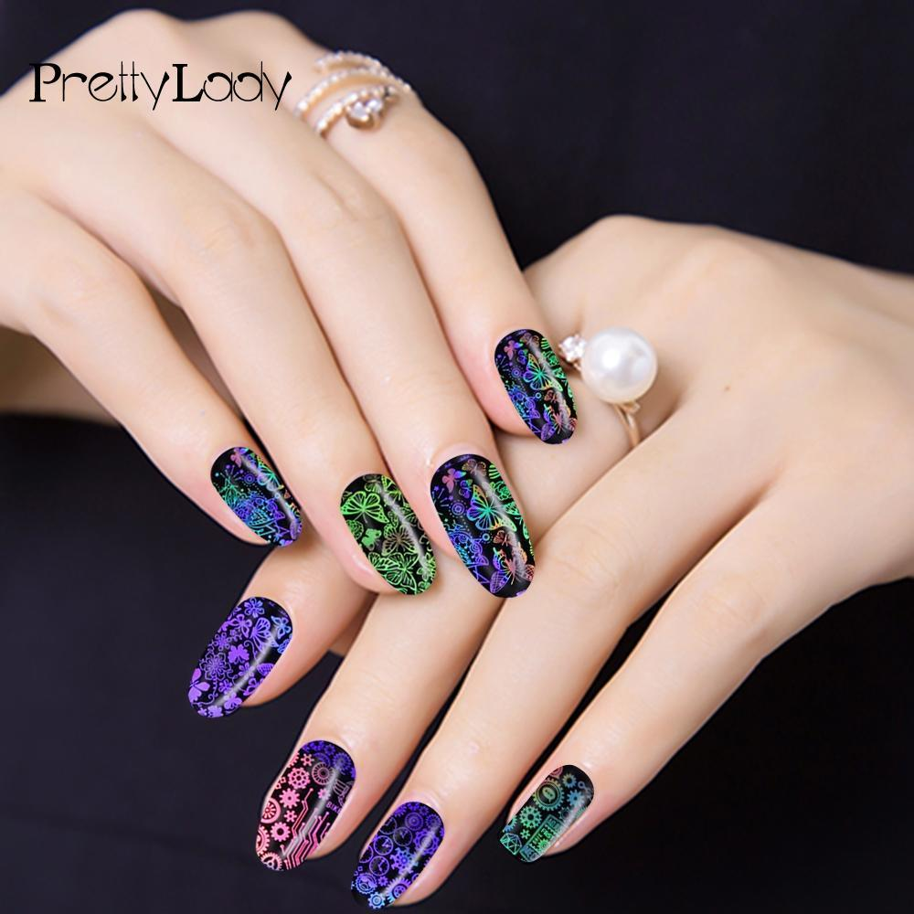 Nail Nail New Holographic Manicure Tips Diy Laser Decals Flame/Robot ...