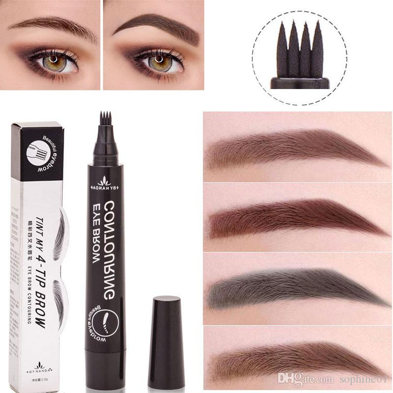 2693811e3d7 4 Fine Sketch Liquid Eyebrow Pencil Eyebrow Pen Women Girl Waterproof Fork  Tip Eyebrow Tattoo Pen Brow Pencil Best Selli How To Grow Eyebrows Makeup  ...