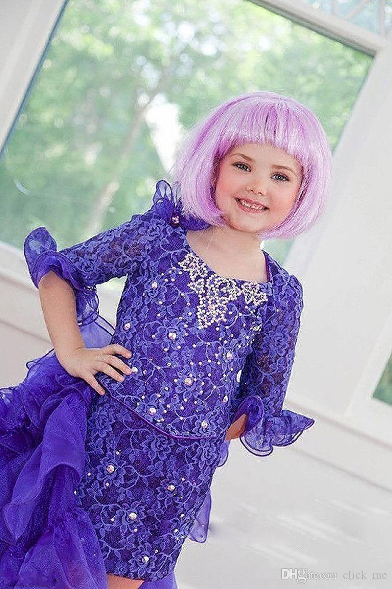 Gorgeous Lila Spitze Perlen Mädchen Festzug Kleider Halbarm High_Low Blumenmädchen Kleider Mit Flouncing Rüschen Kinder Party Kleider