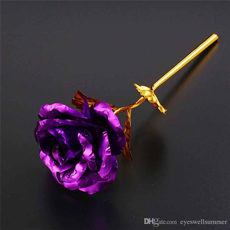 Fashion 24k Gold Foil Plated Rose Creative Gifts Lasts Forever Rose for Lover's Wedding Christmas Day Gifts Home Decoration