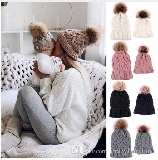 Hats Mother Kids Family Matching Set Acrylic Warm Hats Winter Mother Girls  Knit Fur Pom Warm Ski Snow Earflaps Cap Ladies Crochet Beanie UK 2019 From  ... cc2d1754ef2
