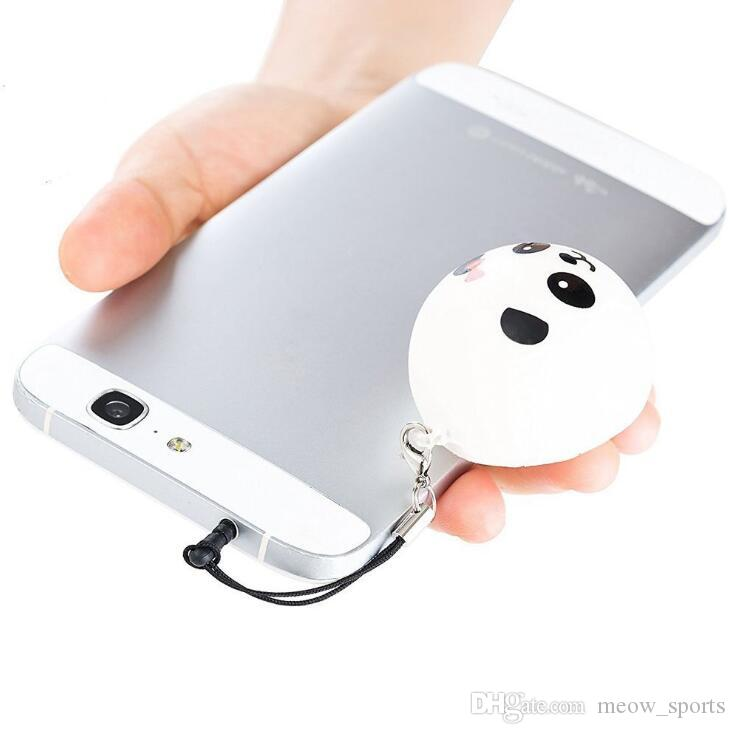 Téléphone Courroies Pendentif Lent Rebondissant Mignon Mini Kawaii Décompression Jumbo Panda Bun Mignon Doux Gâteau Au Pain Glace Cadeau