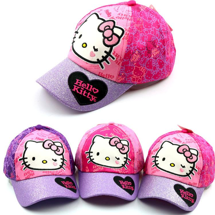 Children's bend along the cap Cute baby boy and girl cartoon hello kitty KT cat cartoon casual outdoor baseball caps Snapback