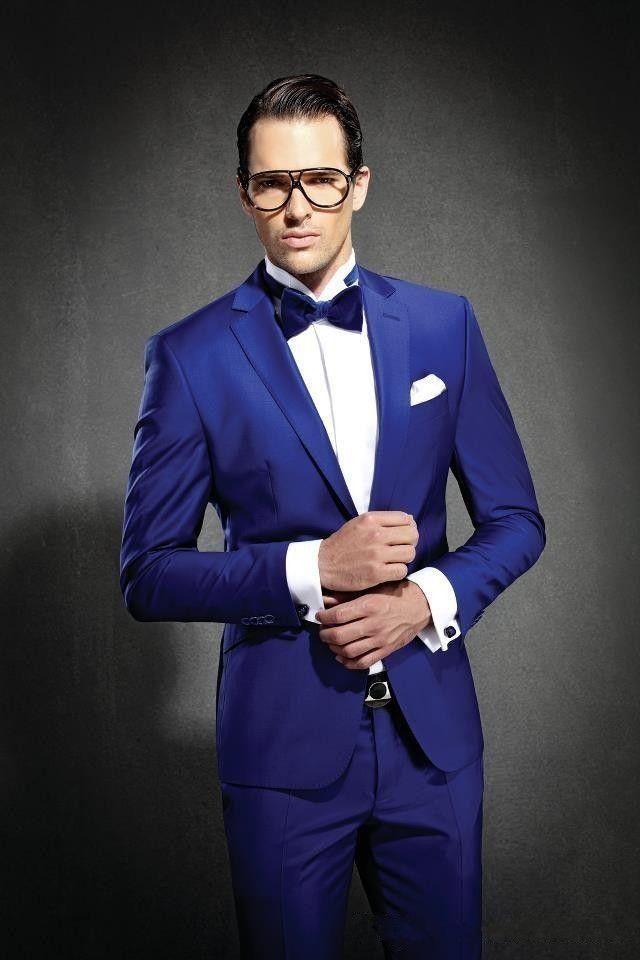6fba17a362614 Satın Al Kraliyet Mavi Slim Fit Erkek Takım Elbise Custom Made Damat Smokin  Groomsmen En Erkekler Için 3 Parça Düğün Takımları Ceket + Pantolon Resmi  Suits, ...