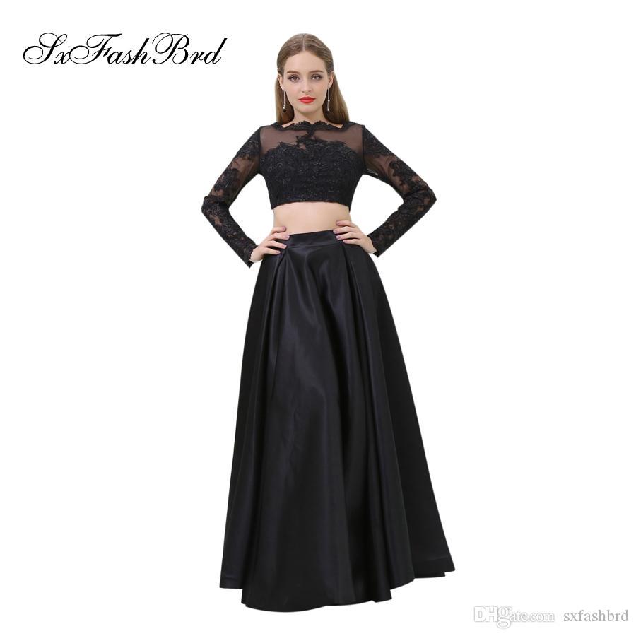 f0640f5a22af Vestido elegante para niñas O Cuello con apliques Manga larga Crop Top  Fiesta larga Vestidos de noche formales para mujeres Vestido de fiesta de  dos ...