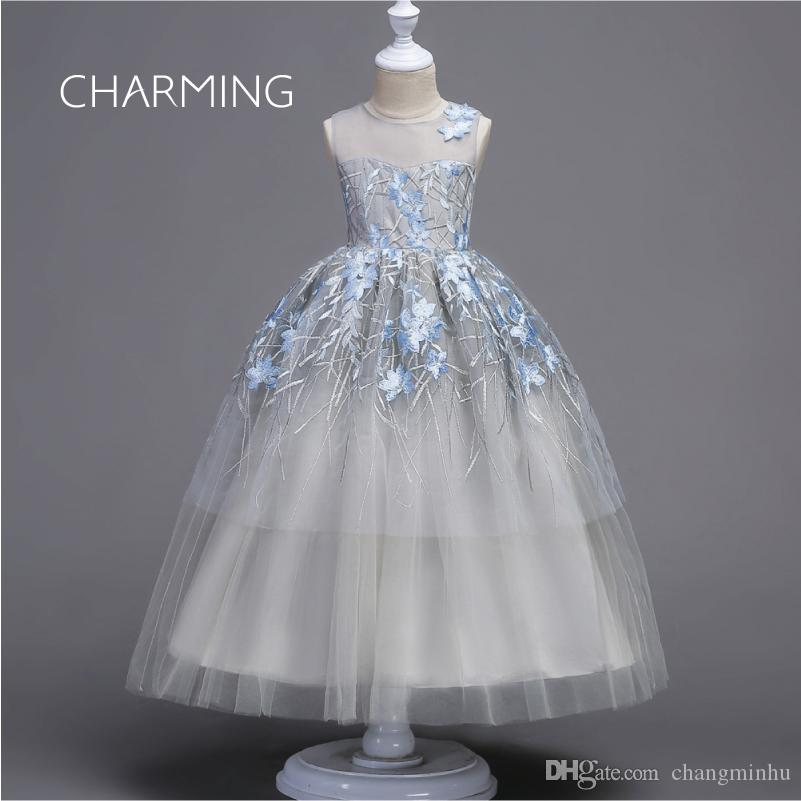Ball Gown Tea Length Flower Girl Dress Organza Sleeveless Jewel Neck with Appliques Tiered Ruching