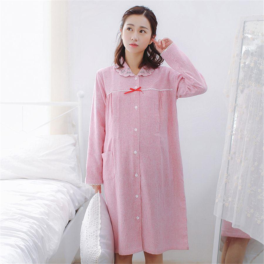 d05dcaf40df 2019 Maternity Breastfeeding Clothes Cotton Sleepwear Nursing Pajamas Dress  Winter Hamile Pijama For Pregnant Women Dress 70M0210 From Cornemiu, ...