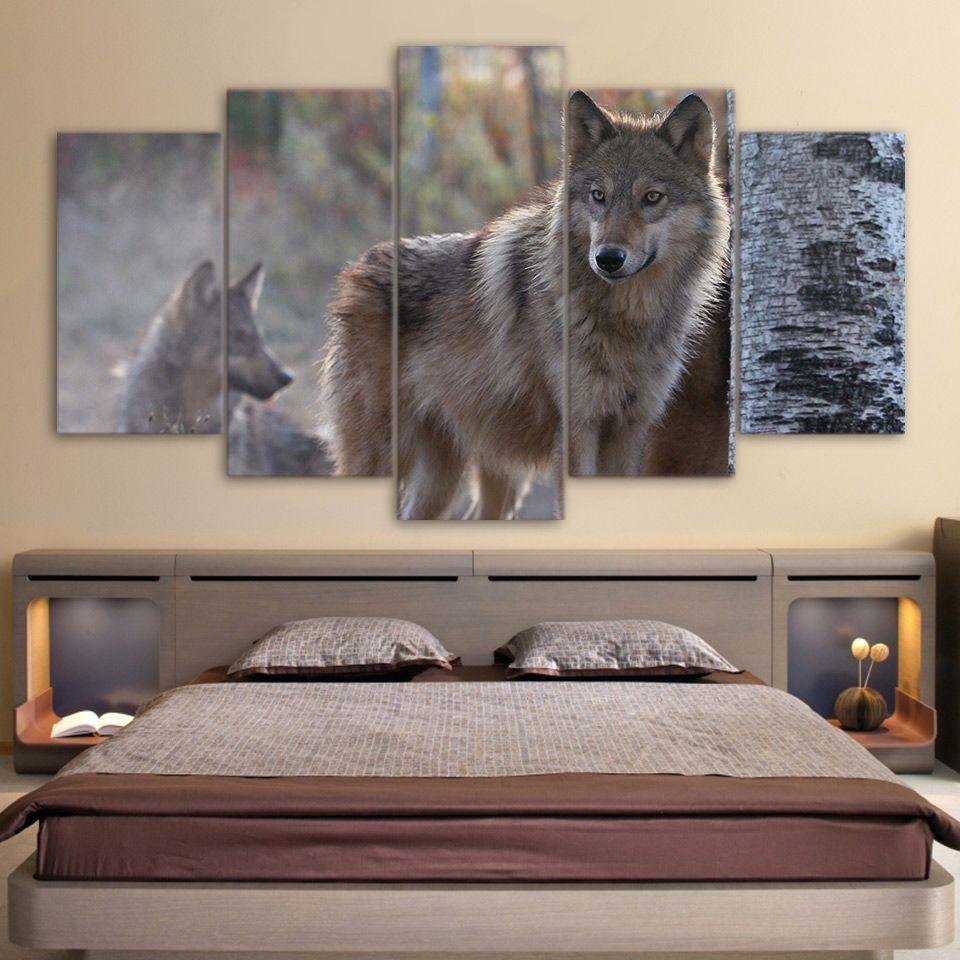 HD Impresso 5 peça da arte da lona Brown Wild Wolf Pintura Modular parede Pictures para sala Modern frete grátis