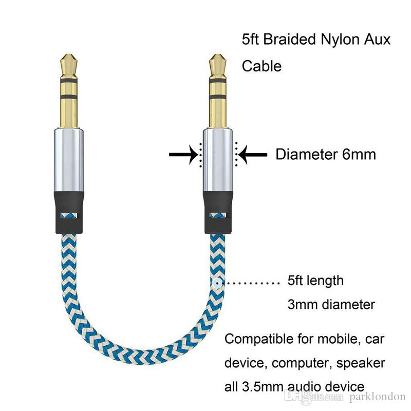 2018Car Audio AUX Verlängerungskabel Nylon Geflochten 3ft 1M verdrahtet Auxiliary Stereo Jack 3.5mm Stecker für Apple und Andrio Handy Lautsprecher