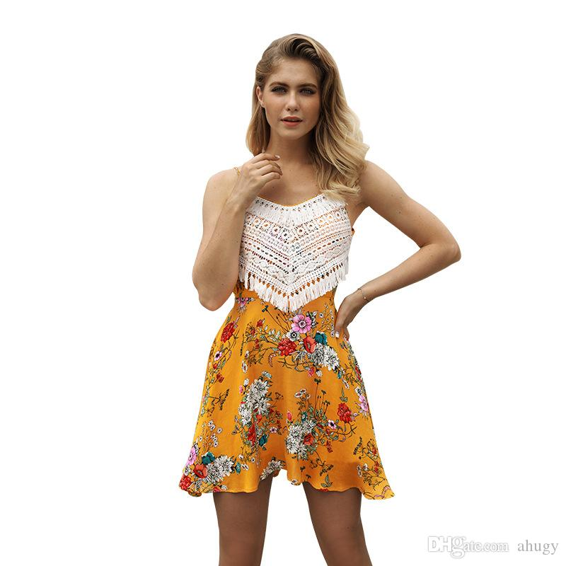 ec03022dc54 New Sexy Sling Dress Sleeveless Flora Printed Skirts With A Back Frenulum 2018  Summer Womens Dresses Red Carpet Dresses Black Prom Dresses From Ahugy