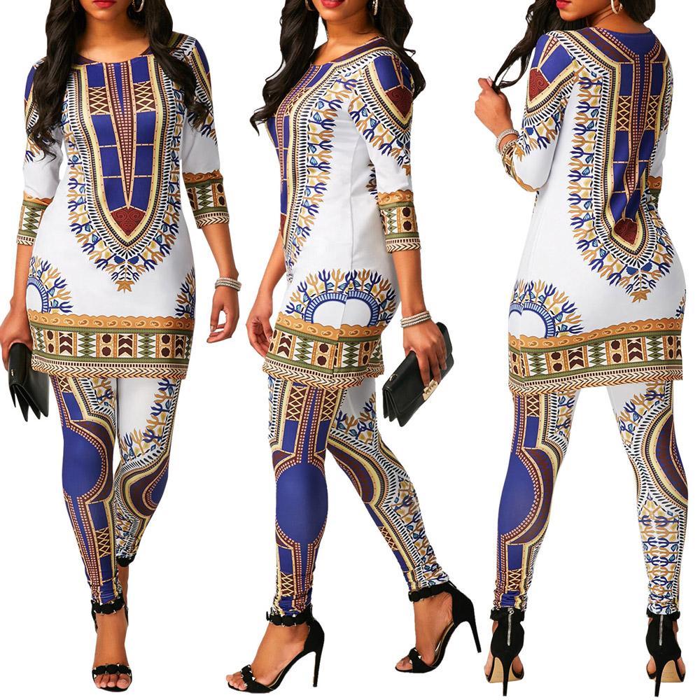 Acheter Africain Print Vêtements Pour Les Femmes Dashiki Traditionnel  Africain 2 Deux Pièces Ensemble Survêtement Bazin Top Pantalon Vêtements  Femme Costume ... d2eb8c13a5c
