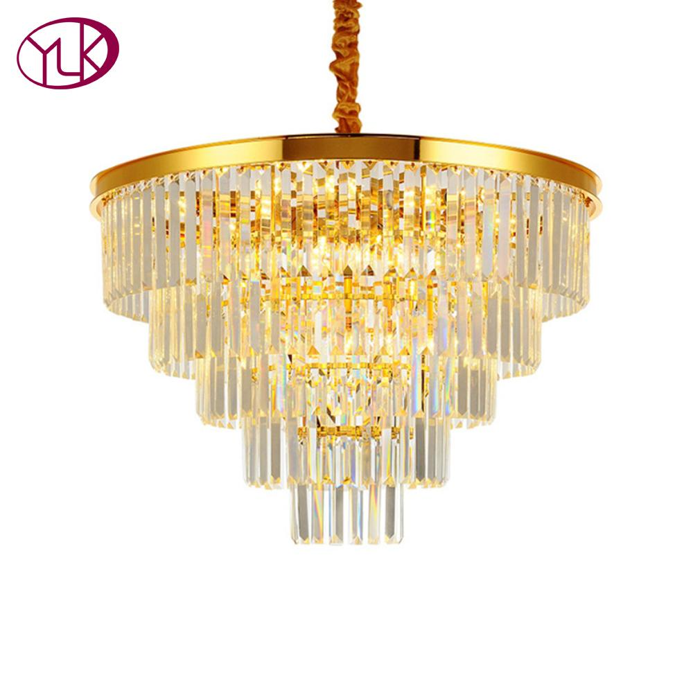 Youlaike gold modern crystal chandelier living dining room led hanging lighting fixtures round home crystal lamps