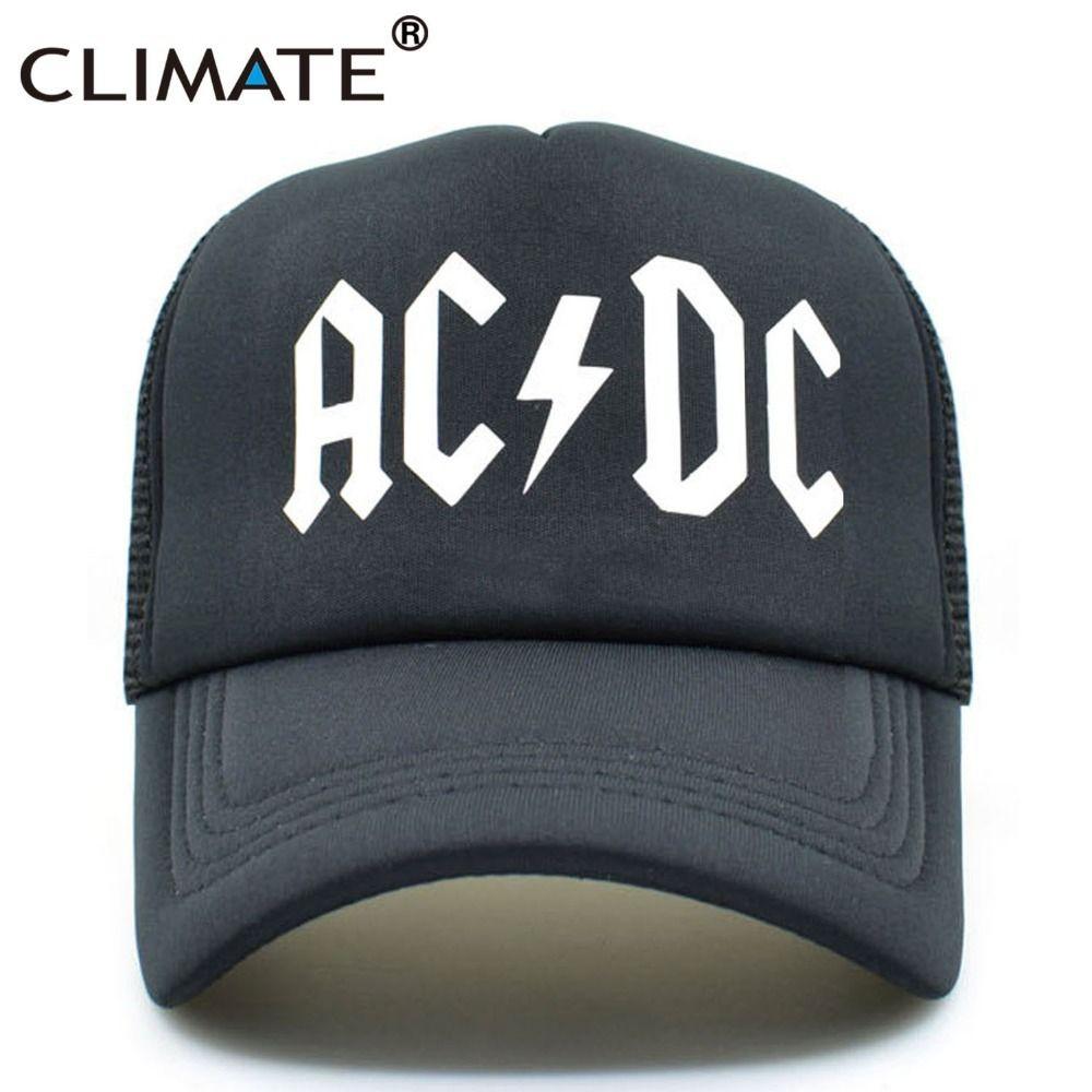 2eb7e3c37f3 CLIMATE Men Women Cool Trucker Mesh Caps ACDC Band Rock Fans Cap AC DC Rock  Band Caps AC DC Heavy Metal Rock Music Fans Cap Hat Custom Trucker Hats  Compton ...