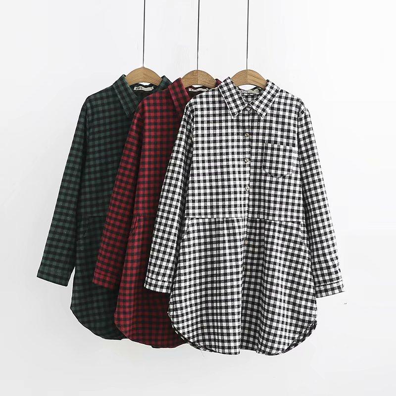 2019 Oversized Plus Size Green Red Black Plaid Turn Down Collar