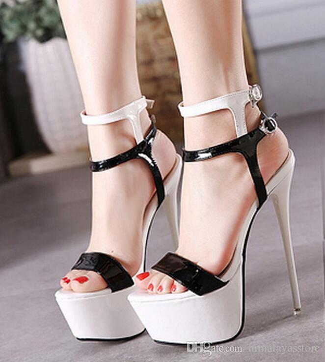 chaussures bohème sandales d'été sexy pompes 16cm chaussures à talons hauts femmes talons chaussures de fête Chaussures à lanières sandales grande taille