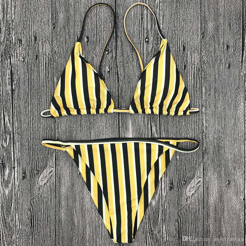 2018 new swimwear yellow navy wind striped swimsuit sexy bikini bikini hot spring bathing suit