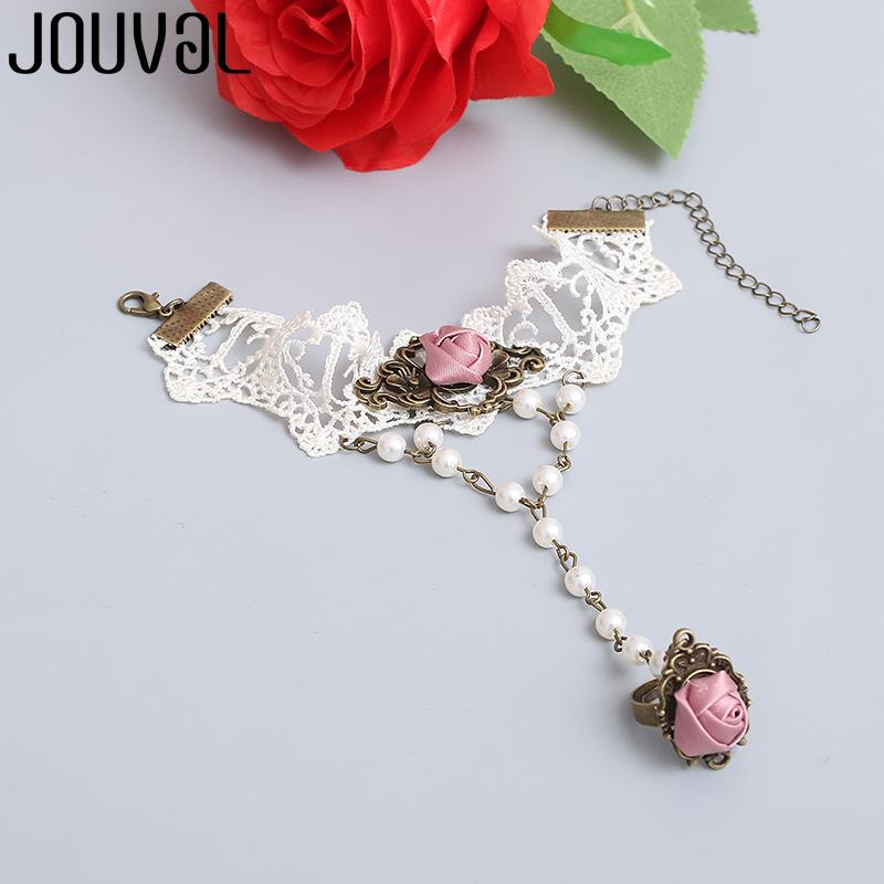 JOUVAL White Lace Finger Bracelet for Women Wedding Jewelry Pink Rose Charm Chain Harness Hand Bracelet&Bangle Vintage Accessory
