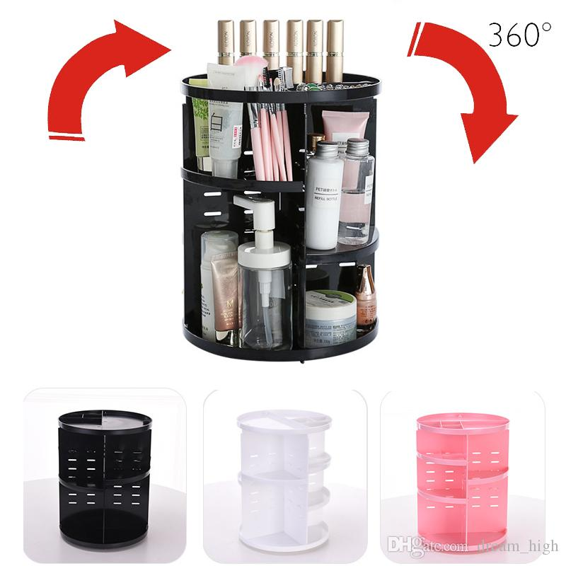 360 Degree Rotation Cosmetic Storage Box Plastic Makeup Storage Box Rotating Cosmetic Organizer Jewelry Box Lipstick Holder Container