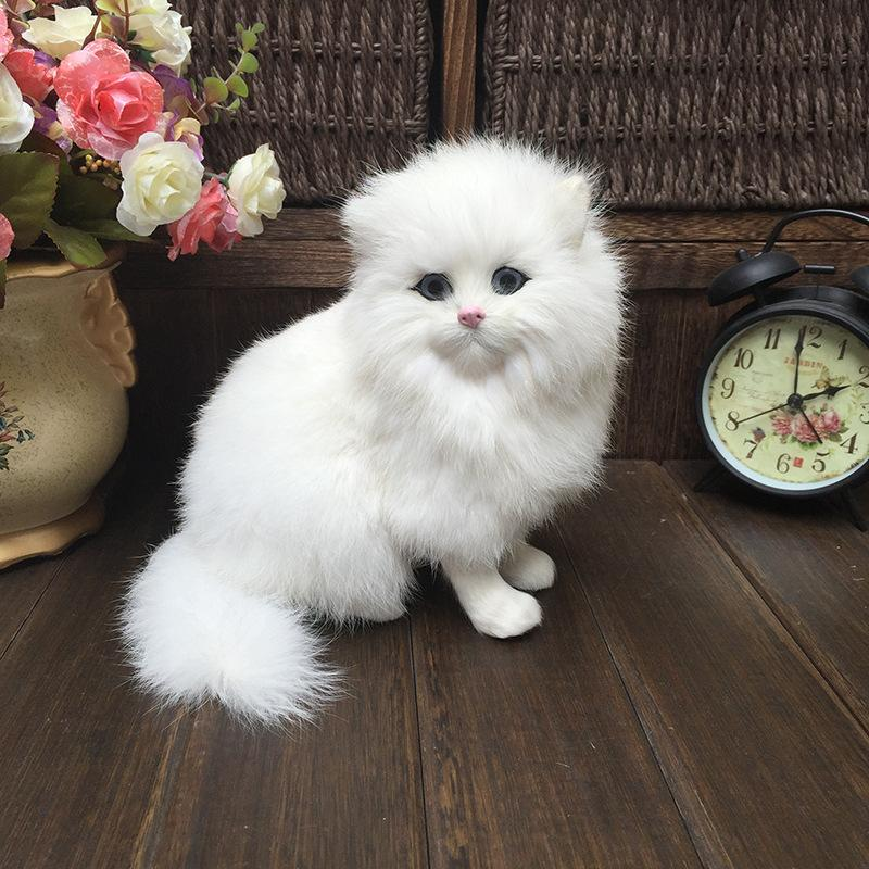 white plush cats lifelike crouching animals models handmade realistic persian cat dolls children plush toys home decoration gift