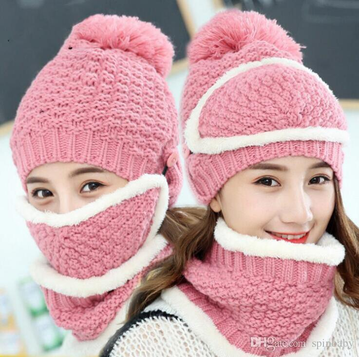 140f769027e 2018 Winter Women Knitted Hat Scarf Two Pieces Set Fashion Wool Thickening  Hat Collars Female Warm Hat Casual Snow Cap