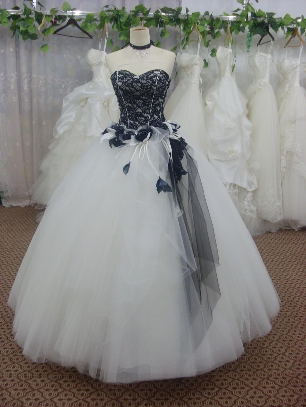 2018 Black And White Tulle Ball Gown Wedding Dress Bridal
