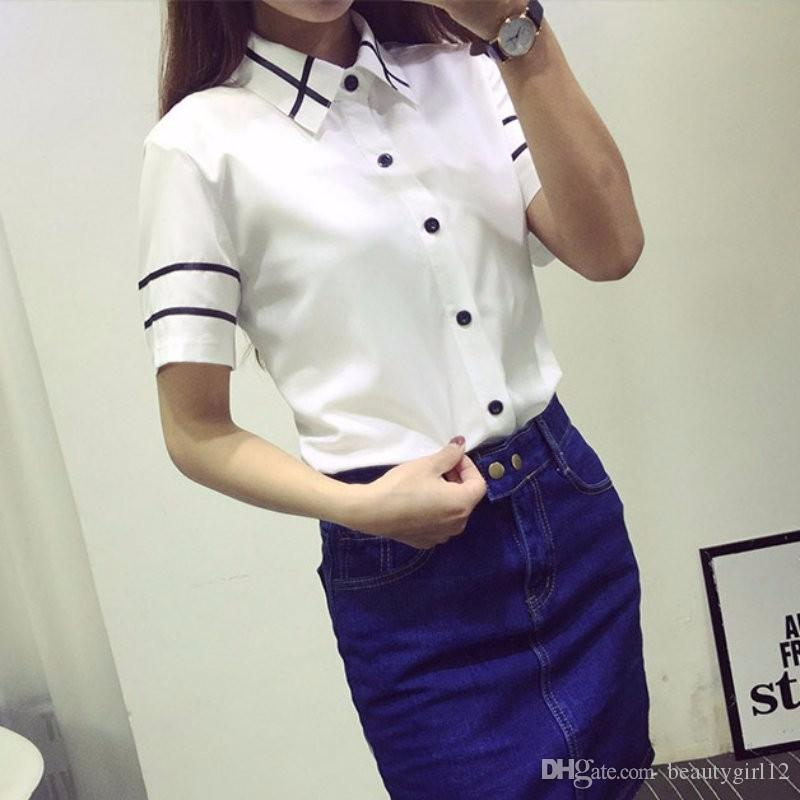 Moda mujer elegante pajarita blanca blusas Gasa rechazar camisa de cuello Mujer camisetas blusa de la escuela Mujeres