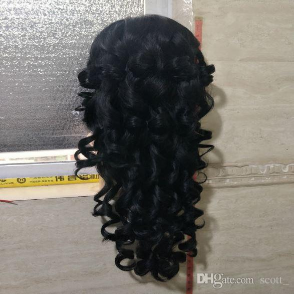 Wigs for black women Synthetic Hair Wig Front Lace Wig Deep Wave Full Head Wigs High Quality Black Long Kinky Curly Wigs
