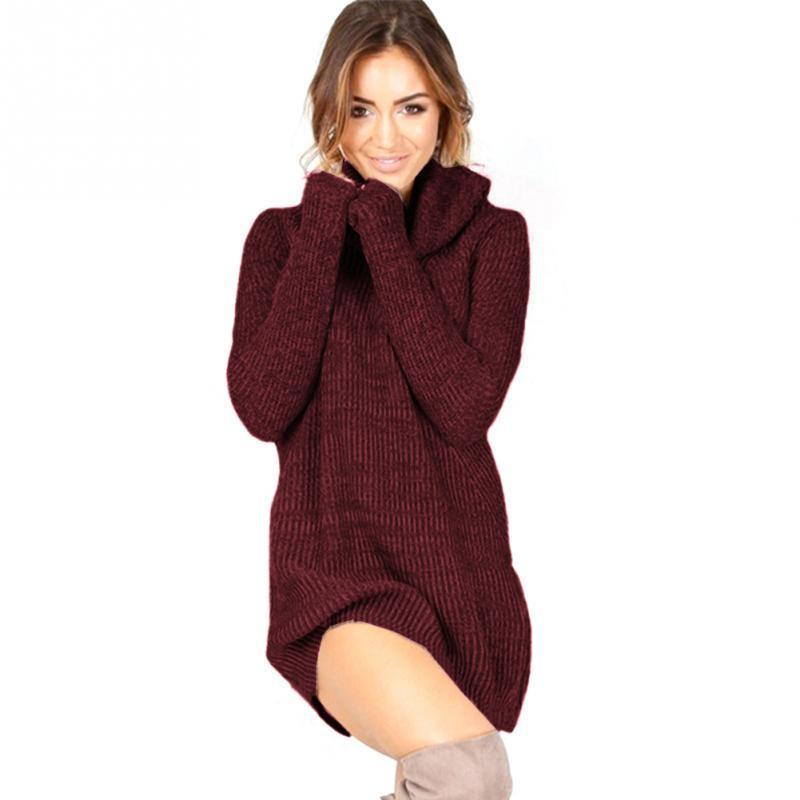 59e0f12ca133 Casual Turtleneck Mini Solid Color Knitted Sweater Dress Thin Type Women  Slim Bodycon Dress Pullover Female Autumn Winter Dress Dresses For A  Cocktail Party ...